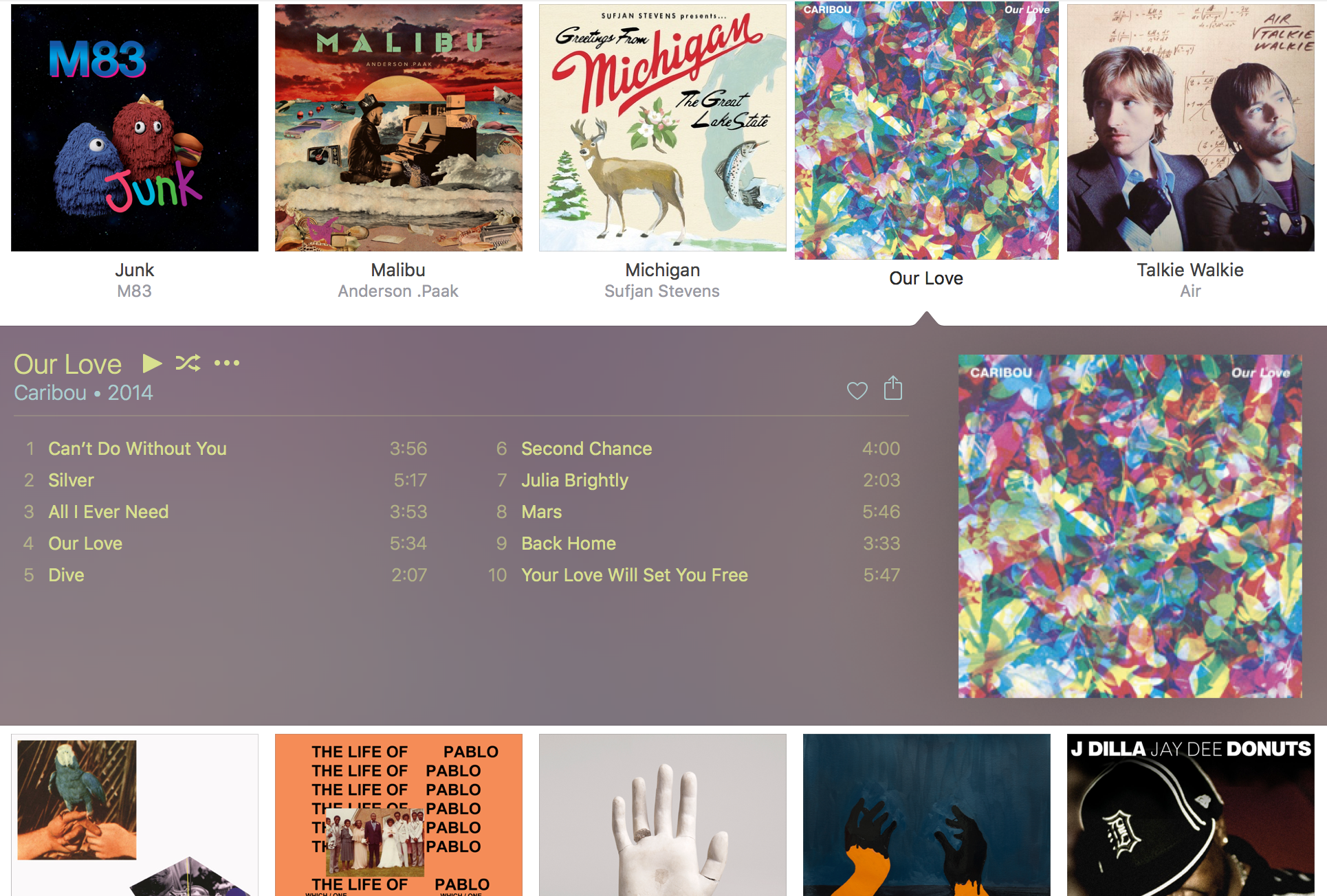 iTunes automatic color-matching for albums looks nice